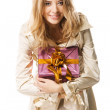 Pretty girl with a gift box — Stock Photo #5727478