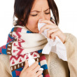 Cute young woman havign caught cold — Stock Photo