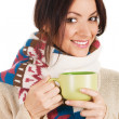 Stock Photo: Young beautiful woman with a cup of tea