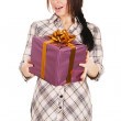 Stock Photo: Beautiful young woman with a gift box