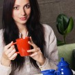 Beautiful lady drinking tea — Stock Photo