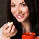 Beautiful lady drinking tea — Stock Photo #5727878