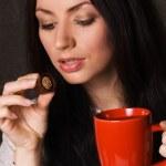 Beautiful lady drinking tea — Stock Photo #5727879