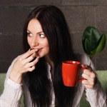 Beautiful lady drinking tea — Stock Photo #5727880