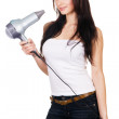 Woman with a hair dryer — Stock Photo #5727919