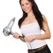 Woman with a hair dryer — Stock Photo #5727920