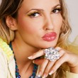 Charming woman with luxury jewelry — Stock Photo