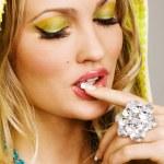 Beautiful woman with professional makeup — Stock Photo