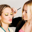 Professional visagiste applying makeup — Stockfoto #5728108