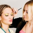 Professional visagiste applying makeup - Stock Photo