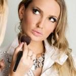 Maekup model and beautician — Stock Photo #5728163