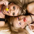 Stock Photo: Two beautiful girls with bright makeup