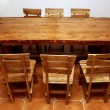 Hand-made large kitchen table - Stock Photo