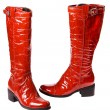 Modern red female boots - Stock Photo