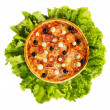 Pizza on a leaves of lettuce - Stock Photo