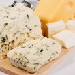 Different cheese types cloesup - Stock Photo