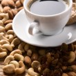 Coffee with nuts, fig and raisins — Stock Photo #5729210