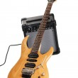 Electric guitar with amplifier — Stock Photo