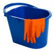 Blue water bucket and gloves — Stock Photo