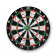 Darts board with a dart in the center - Stock Photo