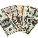 Dollar bills of 1,2,5,10,20,50 and 100 worth — Stock Photo #5729593