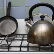 Gas stove with kettle on it — Stock Photo