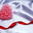 Valentine Heart on satin background — Stockfoto