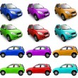 Assortment of cars in different color - Stock Photo