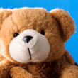 Cute teddy bear on blue background - Stock Photo