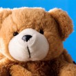 Cute teddy bear on blue background - Lizenzfreies Foto