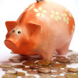 Piggy bank and lots of coins — Stock Photo