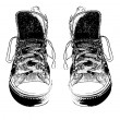Pair of vintage styled sneakers sketch — Stock Photo #5729881