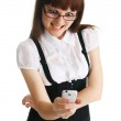 Young woman with a mobile phone — Stock Photo
