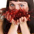 Young beautiful lady with Christmas decorations — Stock Photo