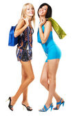 Two lovely girls with shopping bags — Stock Photo