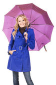 Lovely woman in blue coat with umbrella — Stock Photo