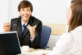 Young businessman having a conversation — Stock Photo
