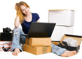 Pretty young woman using online stores — Stock Photo
