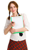 Pretty girl with a worksheet — Stock Photo