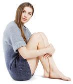 Elegant model in woollen sweater — Stock Photo