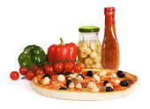 Pizza with sauce, paprika and champignons — Stock Photo