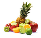 Group of fresh fruits over white background — Stock Photo