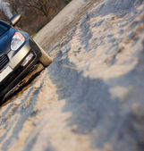 Car's trace on sand — Stock Photo