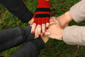 Closeup of hands held together — Stock Photo