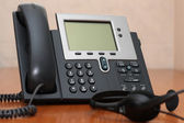 IP Phone with headset — Stok fotoğraf