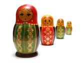 Russian 'matreshka' toy isolated on white background — Stock Photo