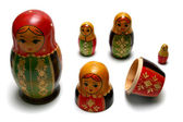 Disassembled russian matreshka toys — Stock Photo