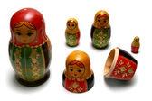 Disassembled russian matreshka toys — Stock Photo