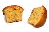 Två muffin bitar på vit — Stockfoto