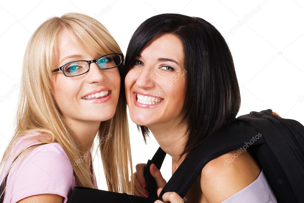 Portrait of two lovely students, isolated on white  — Stock Photo #5726281